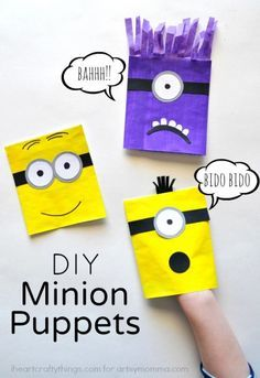 DIY Minion Puppets for Kids. Make homemade puppets using envelopes, paint, tissue paper, and glue sticks! So fun and great for creative play!