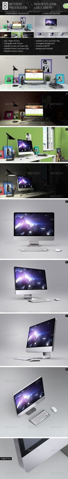 Desktop & Screen Mock-up. Highly editable Desktop and Screen mockup contains 8 high resolution (6000×3000px) PSD files. Perfect for previewing web apps, site template, wallpapers and responsive design for website and apps, or creating a stunning background for websites, banners, posters… Easy to use – just paste your design into the smart-object's and done!