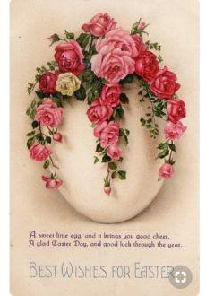Amazing vintage easter roses and egg ♥ Vintage Easter, Vintage Holiday, Easter Illustration, Etiquette Vintage, Easter Wishes, Holiday Wallpaper, Diy Ostern, Easter Parade, Egg Art