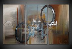 Original Modern Canvas Abstract Triptych 54 x by artbylatanyarenee, $575.00