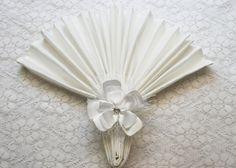 White Flower Napkin Ring  Satin Napkin Ring  Flower by IDoDoodads, $9.95