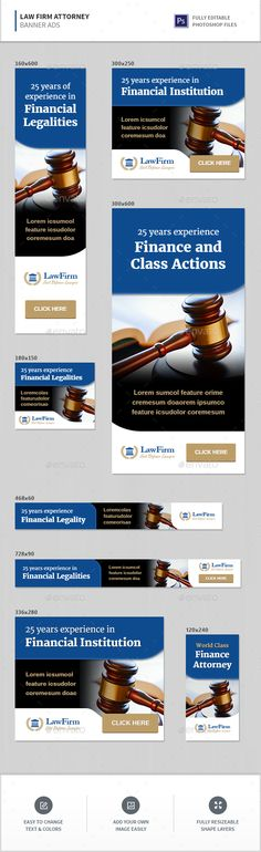 Buy Law Firm Attorney Banners by InfiniWeb on GraphicRiver. Law Firm / Lawyer / Attorney / Legal Banner Ads Web banner ad templates in 8 most popular sizes! Display Banners, Display Ads, Web Banners, Web Design, Graphic Design, Best Templates, Financial Institutions, Banner Template, Best Web