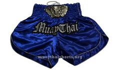 Blue Muay Thai Kick Boxing Sport Shorts Satin Elephant Head