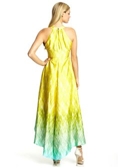 GUESS Keyhole Halter Ombre High-Low Dress