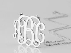 Monogram necklace - 925 Sterling Silver Monogram Necklace - 0.8 inch -  %100 Handmade on Etsy, $31.99