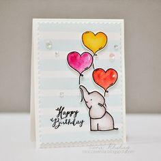 Card with critters Elephant balloon balloons Avery Elle Ellie Elephant moccavanila by vera rhuhay Watercolor Birthday Cards, Birthday Card Drawing, Watercolor Cards, Happy Birthday Hand Lettering, Happy Birthday Art, Creative Birthday Cards, Handmade Birthday Cards, Rakhi Cards, Cumpleaños Diy