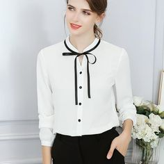 484d2ad0b6eacd New Spring Autumn Tops Women Blouse Fashion Office Lady Long Sleeve Bow  Slim White Shirt Female Cute Bodycon Work Blouses Blusas