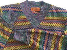 Vintage MISSONI colourful zig zag striped Wool Dress. 1982 Excellent condition. by VINTAGEwithaSMILE on Etsy