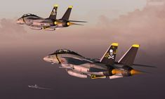 Two F-14 Tomcats from VF-84 US Navy Fighter Squadron on patrol near dusk. From various sources - original screenshot taken by Simplex of and further editing by myself. Click Download for fullsize (...