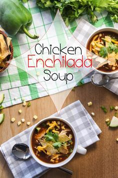 Chicken Enchilada Soup -- a thick, spicy, enchilada-sauce type broth, filled with shredded chicken and veggies. Sure to be a family favorite!