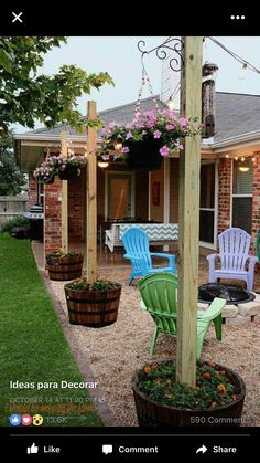 I like the b barrel planter and the post with hanging flowers and the lights