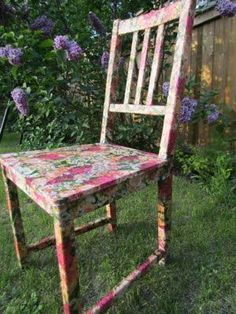 DIY…how to Mod Podge a whole chair Pin It