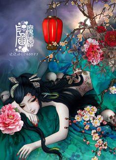Geisha Tattoos, Geisha Tattoo Design, Art Anime Fille, Anime Art Girl, Fantasy Paintings, Fantasy Artwork, Anime Fantasy, Fantasy Girl, Art Mignon