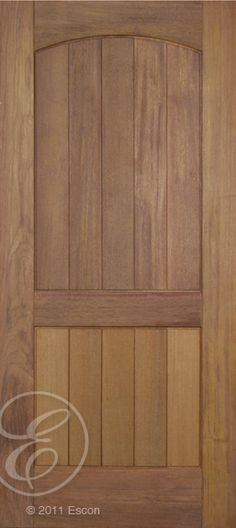 Exterior Rustic Teak 2 Panel Arch Top Beaded/ Grooved panel  [M652-E]