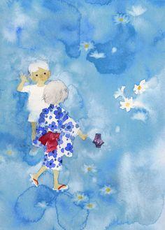 夏の宵の白い花と子ども・いわさきちひろ・1969年