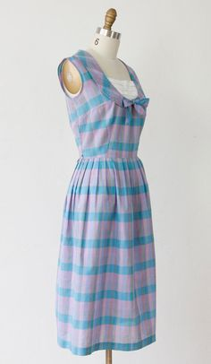 Peter Pan Collar Dress 1960s Blue & Purple Plaid by salvagelife, $48.00