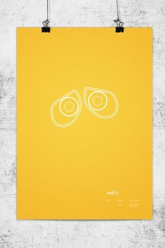 Minimalistic posters of Pixar's animated characters designed by Lee Wonchan.