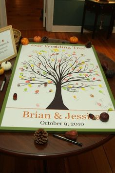 wedding guest book idea with customized color option