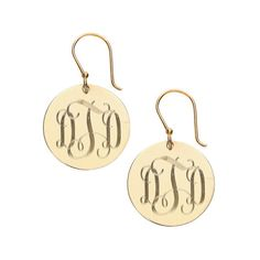 monogrammed gold french wire earrings by MonogramBelle on Etsy
