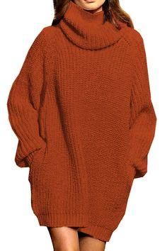 0344fbfddc Pink Queen Women s Loose Oversize Turtleneck Wool Long Pullover Sweater  Dress