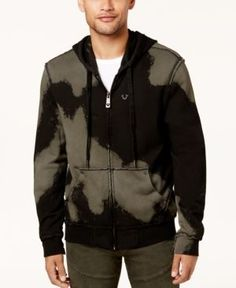 True Religion Men's Tie-Dyed Full-Zip Hoodie - Black XXL