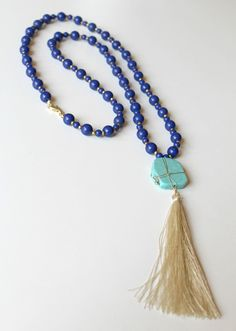 Boho Glam Tassel Necklace - Tan