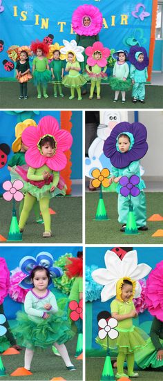 Flor de primavera Diy Baby Costumes, Family Halloween Costumes, Sewing For Kids, Diy For Kids, Crafts For Kids, Puppet Costume, Diy And Crafts, Arts And Crafts, Flower Costume