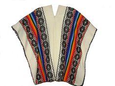 Damen Original peruanischer gestreifter #Poncho Cape Umhang Einheitsgröße mehrfarbig bestickt