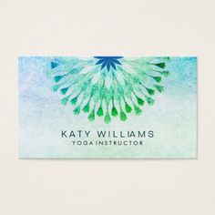 Lotus flower business card yoga business cards pinterest lotus yoga instructor lotus flower watercolor teal business card mightylinksfo