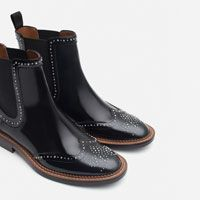 Image 6 of MICRO-STUDDED FLAT LEATHER BOOTIES from Zara