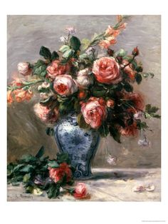 Vase of Roses Giclee Print by Pierre-Auguste Renoir at Art.com