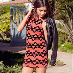 Tribal dress Coral and black tribal dress. New with tags. Forever 21 Dresses