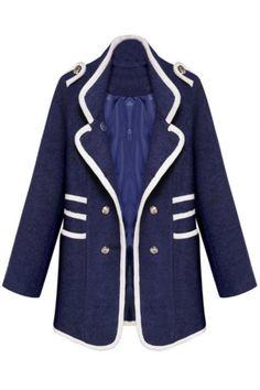 Navy Long-Sleeve Double-Breasted Woolen Coat - OASAP.com