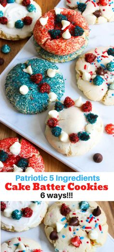 Super easy one bowl recipe for of July cookies with cake mix in 6 ways. These are loaded with sugar coated chocolate chips sprinkles and sparkling sugar! Fourth Of July Cakes, 4th Of July Desserts, Fourth Of July Food, Summer Desserts, July 4th, Cake Batter Cookies, Yummy Cookies, Hash Browns, Scones