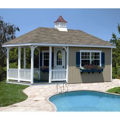 Homeplace 10' x 20' Pool House with Porch. Pool house to change in complete with potty so the big house stays dry. One day....dream on dreamer
