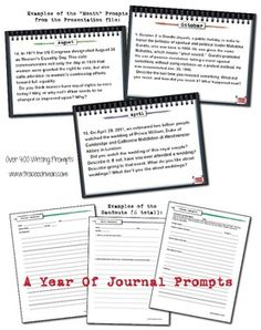 Start the year writing: A Year of Journal Writing Prompts aligned with the Common Core State Standards. Topics cover history, science, literature, current events, geography, holidays, world cultures, pop culture, music, art, and more...