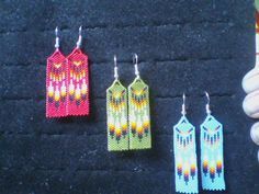 Flat Peyote Stitch Beaded Feather Earrings by taaneszhani on Etsy