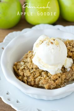 Amish Apple Goodie. It's the Amish version of old-fashioned apple crisp! The streusel topping and simplicity of this recipe will make it a l...
