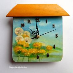 Small PAINTED CLOCK Funny Little Clock with Landscape Original #clock #landscape #painted    #handmade #painting #CanisaArtStudio