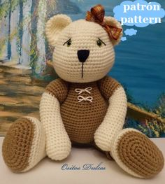 Download pattern, writen in English and Spanish in PDF  It is not a finished product, is the pattern so that you make it.  It contains 9 pages with step by step and all the necessary explanations for these little doll. It is not difficult to weave them, it is suitable for beginners, just have to have some basic knowledge of crochet: Rounds to crochet Magic ring Single crochet And increases and decreases  If you can do this it is easy to join the pieces.  The size of the woven bear and…