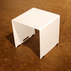 """White Plate Steel Side Table - 14"""" cube - custom sizes available on Etsy, $300.00"""