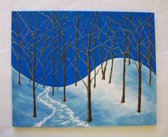 Winter Woods ORIGINAL ACRYLIC PAINTING 16 x 20 by by MikeKrausArt