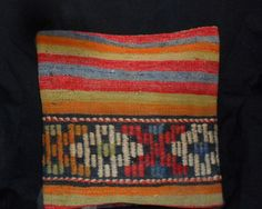 Vintage Turkish Handwoven Kilim Pillow Cover 16x16free by Cultere, $48.00