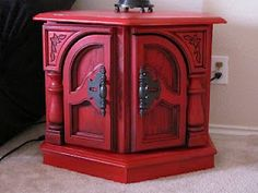 Krylon Cherry Red with Black Glaze- Nightstands in my new bedroom!  Much Ado...: I Made it Without My Hubby! - Red Furniture