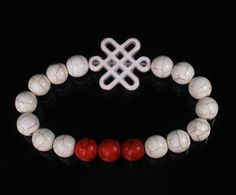 Mala Turquoise White Chinese Idea Knot & Red White Ball Beads Stretch Bracelet