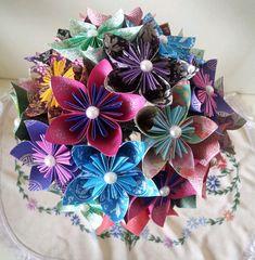 Japanese+Paper+Flower+With+Pearls++Wedding+by+LilyBelleKeepsakes,+£18.00