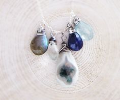 Frozen Garden Necklace Moss Aquamarine by thelittlehappygoose, $68.00