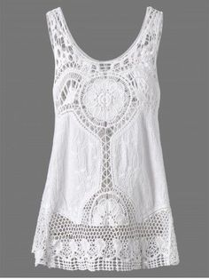 Crochet Lace Hollow Out Tank Top Material: Polyester  Shirt Length: Regular  Pattern Type: Solid  Style: Fashion  #boho affiliate