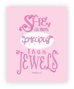 Baby Girl Bible Verse Pink Nursery Print 8x10 by SweetestPie