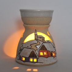 Handmade ceramic oil burner with a winter scene. A fab gift for only £24. Available in our online gift shop www.purrfect-ceramics.co.uk